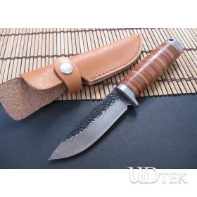 High Carbon Steel Blade Fixed Blade Knife Fighting Knife with Genuine leather sheath UDTEK01358