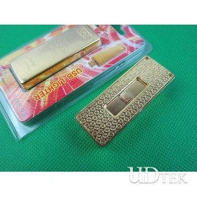 Gold bar-shaped Environmental Protection USB rechargeable lighter UDTEK01935