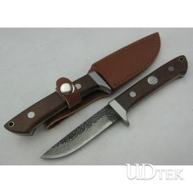 Pattern steel puma Handmade Version Fixed Blade Knife Survival Knife with Steel + Wood Handle UDTEK01194