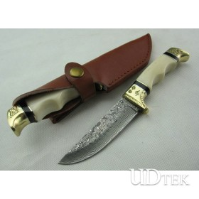 Camel Bone / Brass Handle OEM Damascus Steel Hunting Knife Rescue Knife Hand Tools UDTEK01213