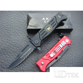 BLACK & RED OEM AK-47 FOLDING BLADE SURVIVAL KNIFE UD48226
