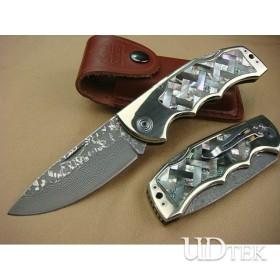 OEM DAMASCUS STEEL ABALONE TREASURE RESCUE KNIFE UDTEK00534