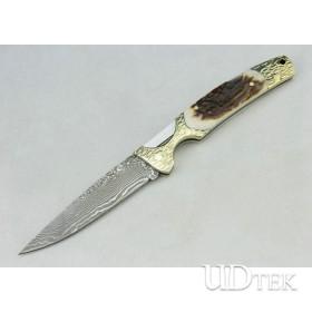 OEM Damascus Steel backlock Folding Collection Knife with Antler + Brass Handle UDTEK01304