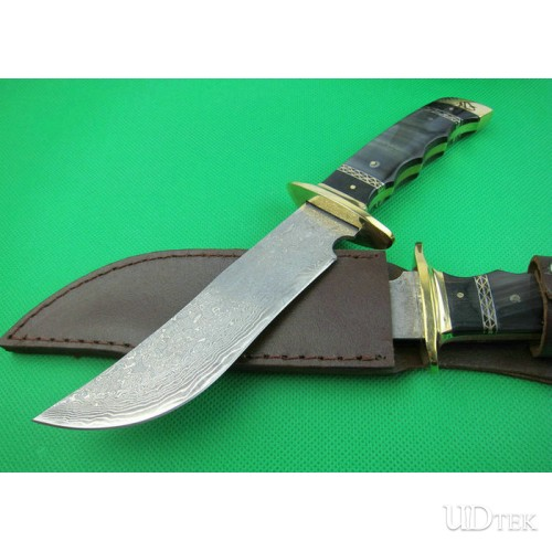 Brass Handle OEM Damascus Steel Hand Tools Camping Knife   UDTEK01306