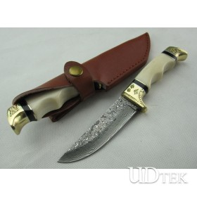 Bone of carve patterns  double copper head Damascus collection hunting knife UD40793