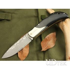 OEM DAMASCUS STEEL WARRIORS FOLDING KNIFE UDTEK00548