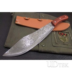 OEM DAMASCUS STEEL MACHETE FIXED BLADE KNIFE UDTEK00553