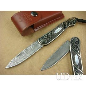 OEM DAMASCUS STEEL ALL COPPER TREASURE KNIFE UDTEK00559