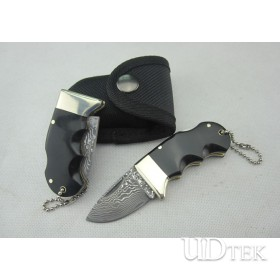 OEM DAMASCUS STEEL SMALL CATTLE KEYCHAIN BACL LOCK KNIFE WITH BRASS + OX HORN HANDLE UDTEK00567