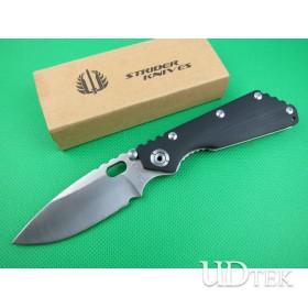 Classical Strider steel lock folding knife  black G10 handle UD401304