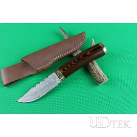 Damascus Flower Fox fixed knife UD402201