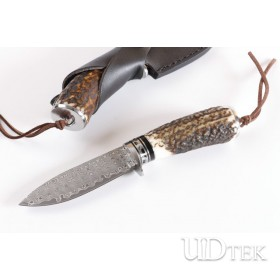 New Damascus blade antler hunting knife UD402276