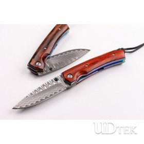 Damascus Fantasy horses folding knife UD403397
