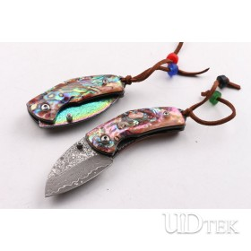 Damascus Waistline two types folding pocket knife with Natural Abalone handle UD403438