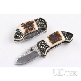 US Andy Swiss powder Damascus blade pocket knife with antlers handle UD404406