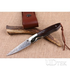 Extreme Ebony small folding knife American Damascus handmade knife UD404480