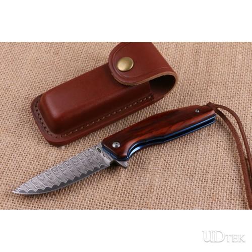 Blue bird Damascus folding knife with Red sandalwood handle UD404497