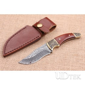 Rose pattern Damascus steel hunting knife UD404517