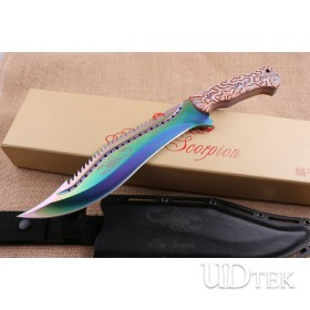 Colorful Scorpion King fixed blade knife Machete UD404705