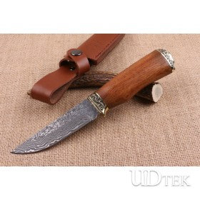 Double copper Carved handmade Damascus fixed blade knife UD404714
