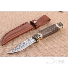 Imported Swiss powder Damascus blade Double copper antlers handle collection knife UD404840