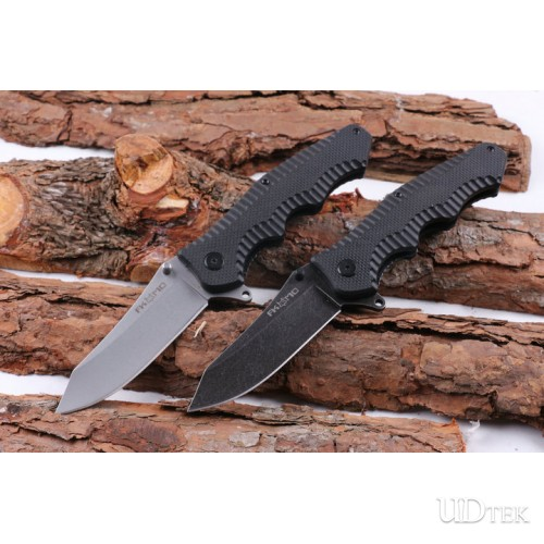 FOX folding camping knife with steel and G10 handle UD404871