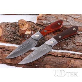 Handmade imported Damascus blade material hunting fox camping knife UD404889