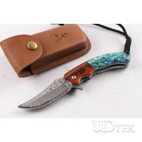 Mild Deer VG10 Damascus steel Abalone folding knife UD404895