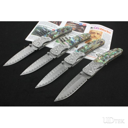 Abalone handle Damascus steel blade folding knife collection knife UD40920
