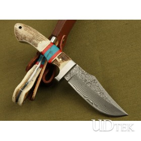 Damascus steel antler inserted two-color wood handle full tang collection straight knife DKH27 demon top UD05086