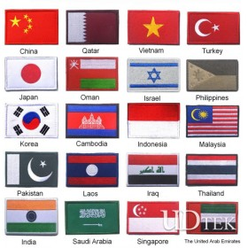 Asian European countries flags embroidery bagde Magical shoulder stickers patch UD7004